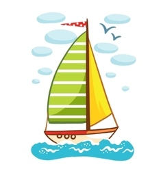 a sailboat on the sea vector image