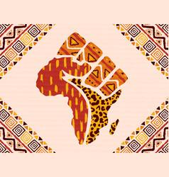 Africa tribal art map hand shape background vector
