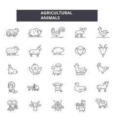 agricultural animals line icons editable stroke vector image