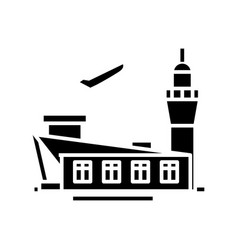 airport building black icon concept vector image