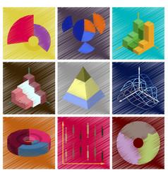 assembly flat shading style icons economic graphs vector image