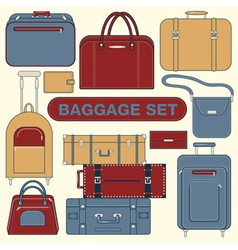 Baggage Set Different Bags and Suitcases vector