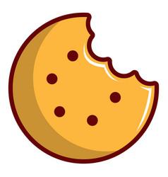 Bitten round cookie icon cartoon style vector
