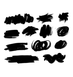 Black hand-drawn paintbrush collection vector