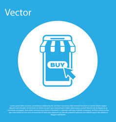blue mobile phone and shopping cart with striped vector image