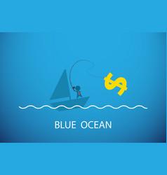 businessman fishing dollar symbol in blue ocean vector image