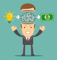 businessman get idea to make money vector image