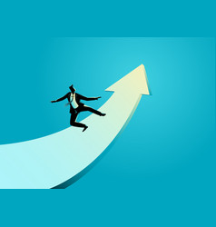 businessman surfing on the rising arrow vector image