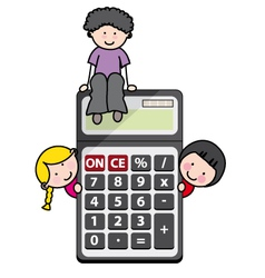 Children with a calculator vector image