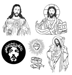 Christian icon sketch and drawing collection vector