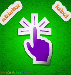 Click here hand icon sign Symbol chic colored vector