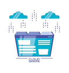 Cloud computing with template webpage vector