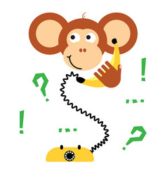 cute cartoon monkey calling banana phone vector image