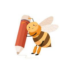 cute happy bee with huge pencil in tiny paws vector image