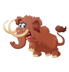 Cute mammoth cartoon isolated on white background vector image