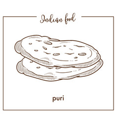 Delicious soft hot puri loaves from traditional vector