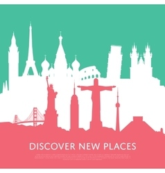 Discover new places with cityscape silhouettes vector