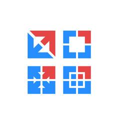 diverge arrows logo set red and blue progress vector image