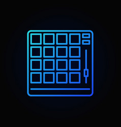 Drum machine blue outline icon or logo vector