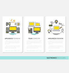Electronics technology business brochure template vector