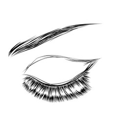 Female closed eye drawing vector