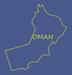 Flag of sultanate of oman overlaid on outline map vector