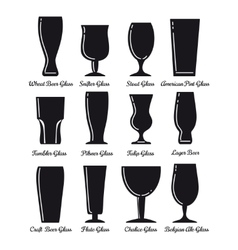 Flat beer glasses black icons vector