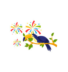 flat icon of toucan sitting on tree branch vector image