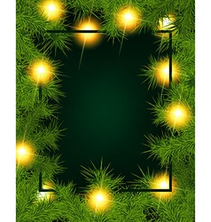 Frame of fir branches and lights vector