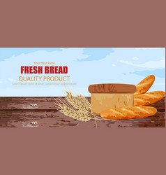 fresh bread wooden background texture vector image