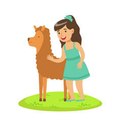 girl standing on green grass and petting fluffy vector image