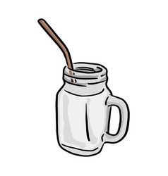 glass of milk with straw sketch vector image