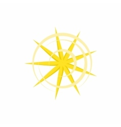 Gold nine pointed star icon in cartoon style vector