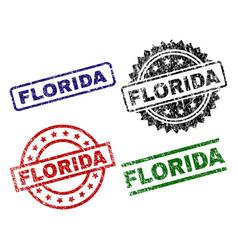 grunge textured florida stamp seals vector image