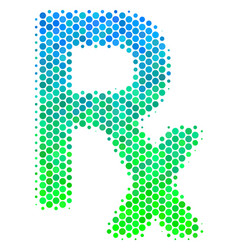 Halftone blue-green rx symbol icon vector