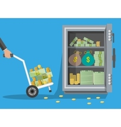 Hand truck full of money and coins steel safe vector image