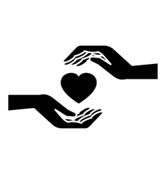 Hands holding heart icon simple style vector