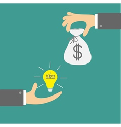 Hands with idea bulb and money bag Exchanging vector