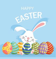 happy easter greeting card cute vector image