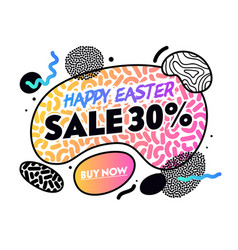 happy easter sale banner with abstract shapes vector image