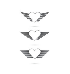 heart logo with angel wings on background vector image