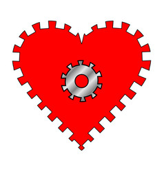 heart with gear vector image