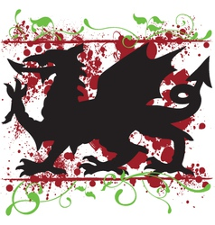 Heraldic Welsh Dragon Design vector image