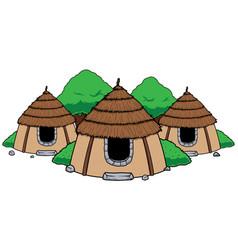 Hut village mascot vector