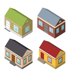 Isometric house set3D icons vector