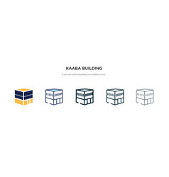 Kaaba building icon in different style two vector