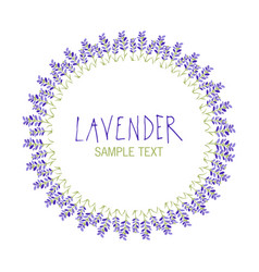 lavender flower wreath logo design text hand drawn vector image