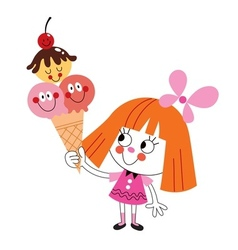 little girl eating ice cream cone vector image