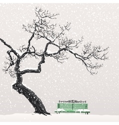Lonely tree on a snow-covered bench vector