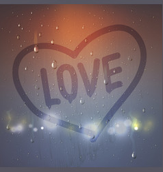 love heart on misted glass composition vector image